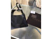 Black Gucci Monogram Messenger Bag