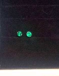 4mm Round Emerald 9K White Gold Studs (Brand New) Fletcher Newcastle Area Preview