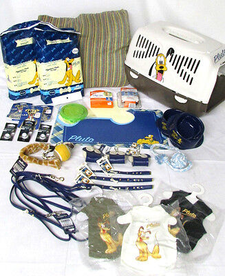 Disney Pluto Boy Dog & Puppy Travel Kit Pack Carrier Collar Leash Toys Lot of 30