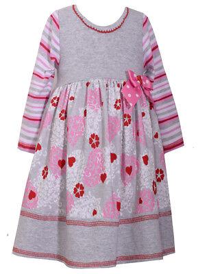 Bonnie Jean Girls St Valentine's Heart Birthday Stripped Pink Red Dress 4 5 6 - Girls Valentine Dresses