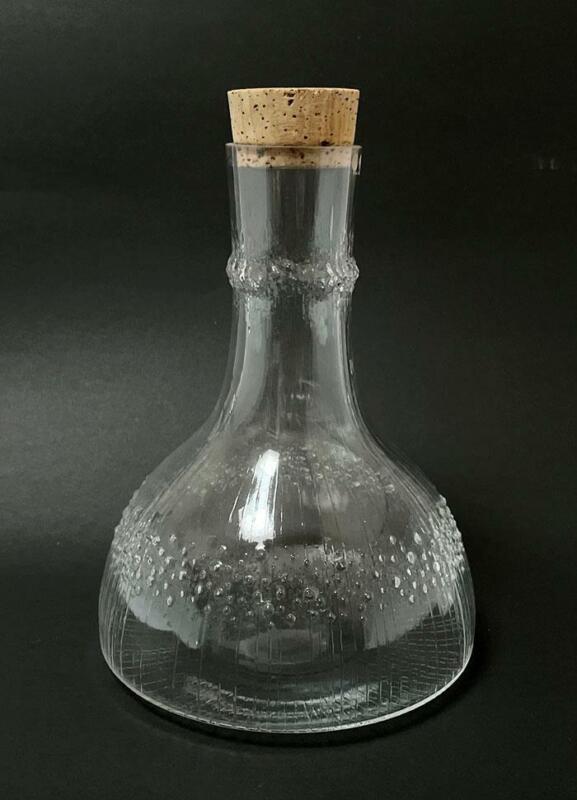 MID CENTURY VINTAGE IITTALA FINLAND NIVA GLASS DECANTER BOTTLE TAPIO WIRKKALA