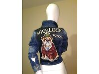 "Hand-painted denim jacket ""Sherlock WHO?"