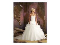 BN white strapless bridal wedding dress with corset lace up back fitting 12-16 ladies uk size