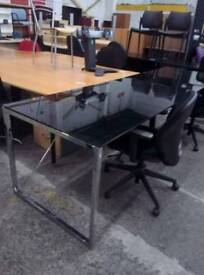Office Tables, Topped w Black Glass