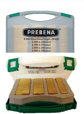 Prebena Stauchkopfnägel J Box im Koffer 8000 Brads Typ J Druckluftnägel 2xr j50