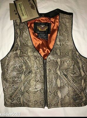 HARLEY DAVIDSON Motorcycles Women's Small Biker Vest 100% Leather Snake Python