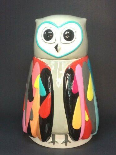 Collectible Neiman Marcus Ceramic Owl Rainbow Colors Cookie Jar Retired Design