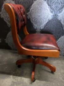 Stunning Chesterfield Oxblood Red Leather Captains Office Desk Chair - UK Delivery