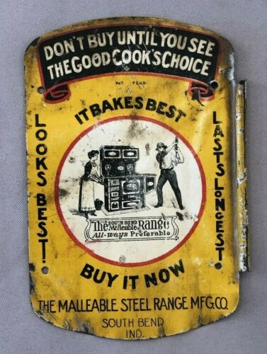 MALLEABLE STEEL RANGE Stove TIN LITHO Tag ANTIQUE ADVERTISING