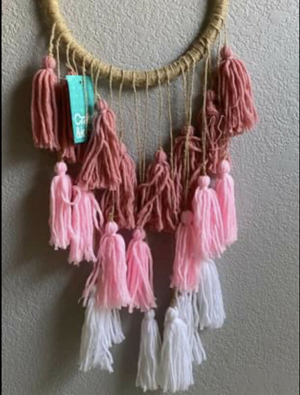 Crate & Barrel Kids Tassel Hanging Decor NEW Pink