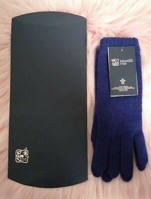 Johnstons Of Elgin Blue Cashmere Gloves Ladies