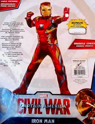 Avengers Iron Man Boys 3D Child Muscle Padded Costume 7-8 New Civil War w Gloves
