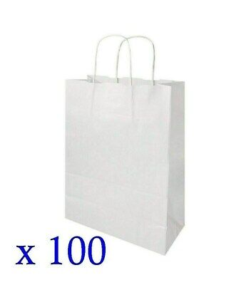 100 x Blake White Paper Carrier Bags 305 x 170 x 445mm Twist Handle N4FH#
