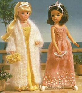 KNITTING PATTERN FOR SINDY / BARBIE DOLL EVENING CLOTHES DRESS, COAT & BAG
