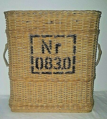 LARGE ANTIQUE FRENCH CHAMPAGNE TRAPPER BASKET FRANCE SIDE HANDLES WICKER WOOD