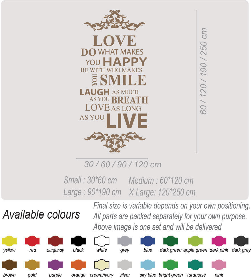 Live Love Laugh Family Smile Happy Art Wall Quotes Wall Stickers Wall Decals