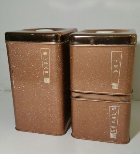 Lincoln Beautyware - Vintage Retro MCM Tin Canisters - Copper Tone Speckle