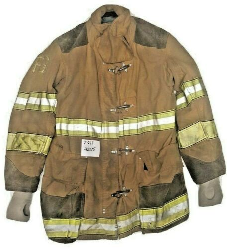 42x35 Globe Firefighter Brown Turnout Jacket Coat with Yellow Tape J868