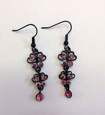Black Enamel Drop (Women Drop Dangle Fashion Black Chandelier Rhinestones Enamel Hook)