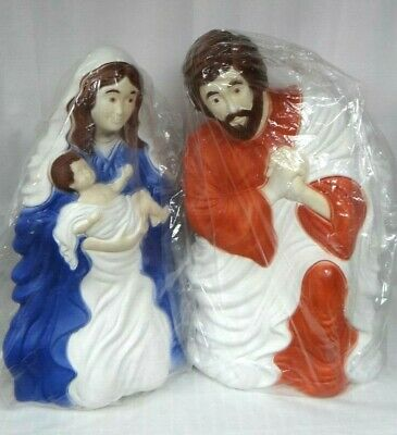 NEW 2PC Nativity Set Lighted Christmas Blow Mold Mary Joseph Jesus Outdoor Yard
