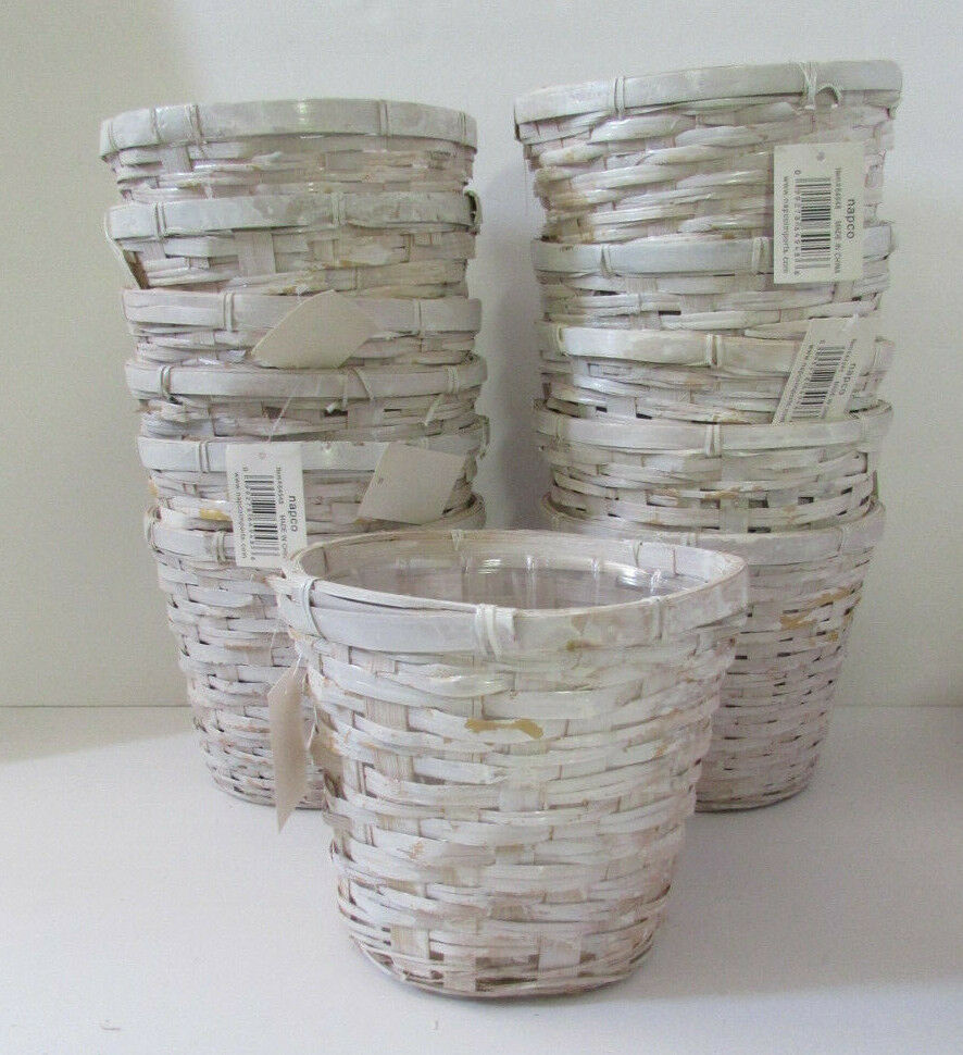 "Napco 6.5"" White Wash Round Wicker Basket with Clear Insert"