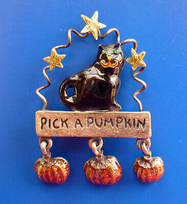 PIN Halloween Vintage BLACK CAT Pick a PUMPKIN Enamel STARS Dangles Glitter