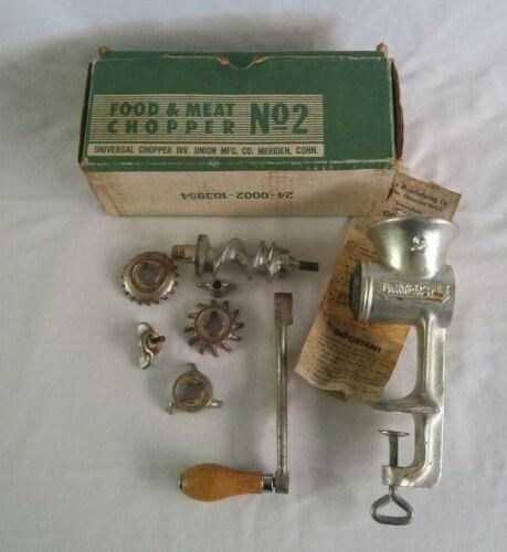 Vintage Universal No. 2 Food & Meat Chopper Grinder COMPLETE Set of 3 Blades Box