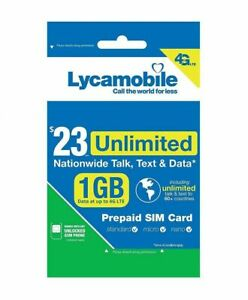 Lycamobile $23 Plan Prepaid 1st Month Free SIM Card 2GB 4G U