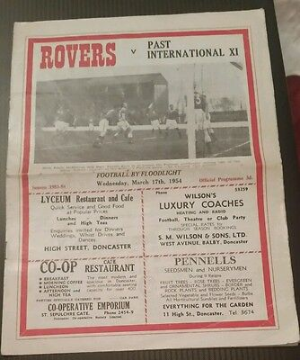 Doncaster Rovers v Past International XI Friendly Programme 17/03/54