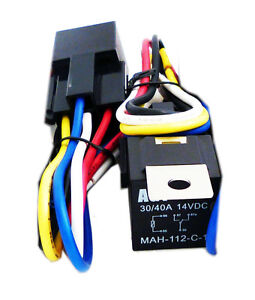 2x-12Volt-30-40-Amp-Car-Auto-Automotive-Relay-With-Wiring-Harness-And-Socket-New