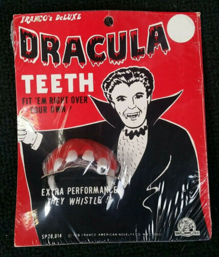 Franco Deluxe DRACULA TEETH WHISTLE 1970s VTG Halloween Vampire Costume NOS RARE