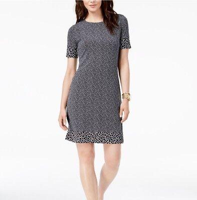 Michael Michael Kors Animal-Print Short Sleeves Border Dress Size Medium