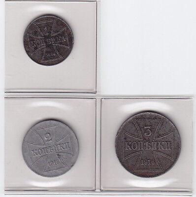 Gebiet des Oberbefehlshabers Ost 1916 komplett 1 Kopeke, 2 Kopeken, 3 Kopeken