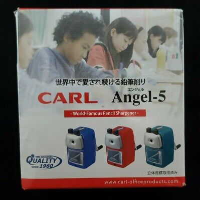 Carl Angel-5 Manual Pencil Sharpener Blue With Desk Clamp - New