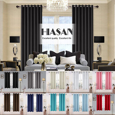 2 Panels Room Darkening Blackout Curtains Thermal Insulated  Window Curtains Panel Thermal Insulated Polyester Curtains