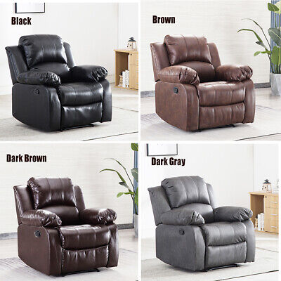 Recliner Chair Overstuffed Heavy Duty Livingroom Reclining Faux Air Leather Sofa