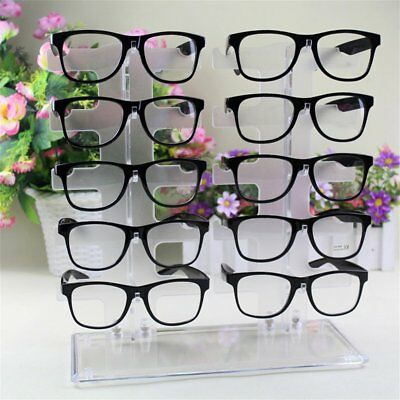 2 Row 10 Pairs Sunglasses Glasses Rack Holder Frame Display Stand Transparent Nd