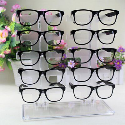 2 Row 10 Pairs Sunglasses Glasses Rack Holder Frame Display Stand Transparent (Sunglass Stand)