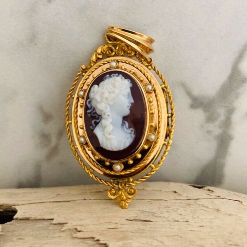 Antique 14 kt gold seed pearls hand carved carnelian cameo locket.