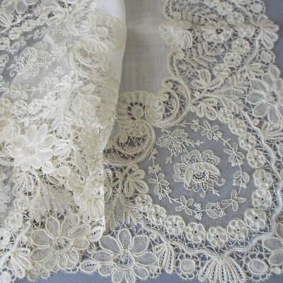 BEST Antique 19thC Handmade POINT DE GAZE Needle Lace Handkerchief * WEDDING