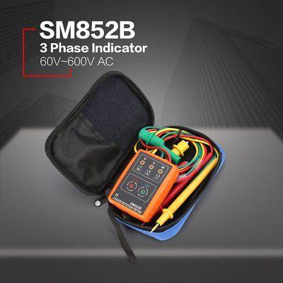 Sm852b 3 Phase Rotation Sequence Indicator Meter Tester Detector 60v-600v Yk