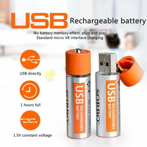 2PCS SORBO 1200mAh USB Rechargeable 1 Hour Quick Charging AA Li-po Battery SM