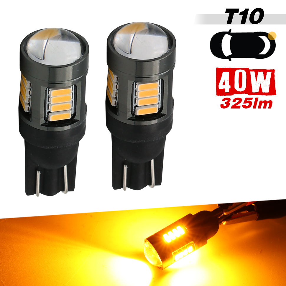 2pcs of T10 LED Front Side Marker High Power Yellow Light Bulb One Pair 194NA