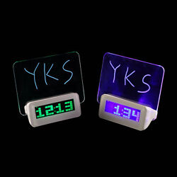 New LED Light Fluorescent Message Board Digital Alarm Clock Calendar SM