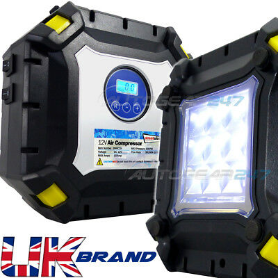 Auto Corte 12v 100psi Coche Neumático Bomba Inflador Air Compresor. Luz LED...
