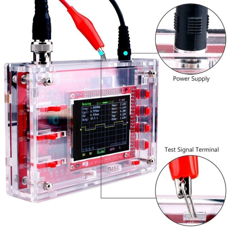 DSO138 2.4 Inch TFT Digital Oscilloscope Welded/DIY Parts Kit/Acrylic Case ND