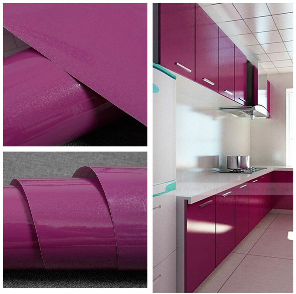 Yazi gloss vinyl kitchen cupboard door cover self adhesive for Adhesive covering for kitchen cabinets