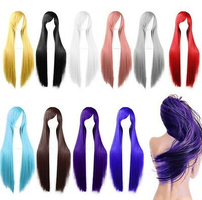 80cm Long Straight Fashion Cosplay Costume Party Hair Anime Wigs Full Hair Wigs (Anime Costumes For Women)