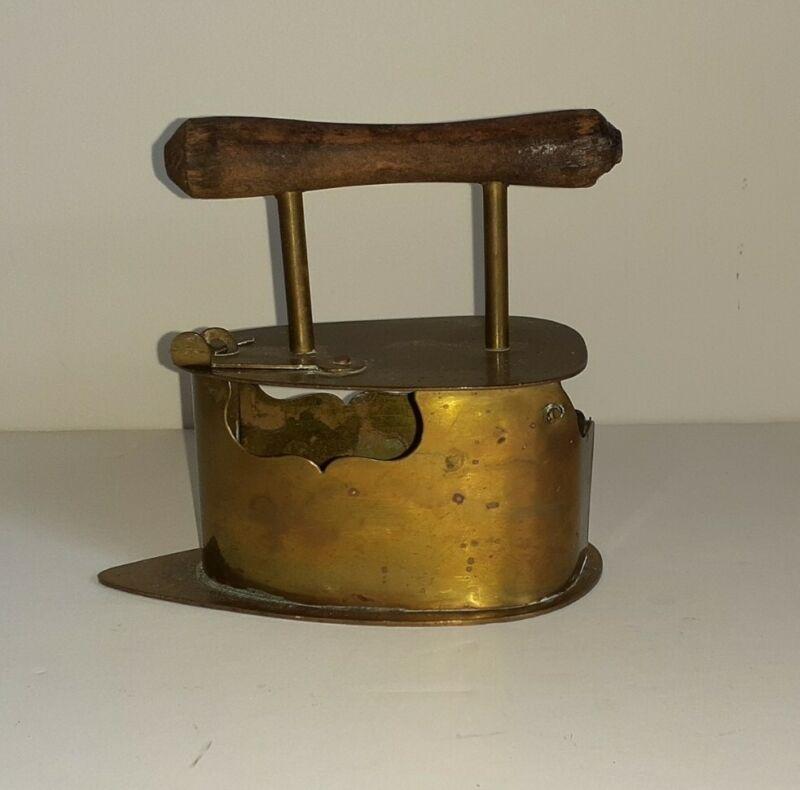 Vintage Brass Coal charcoal Sad Iron Wooden Handle