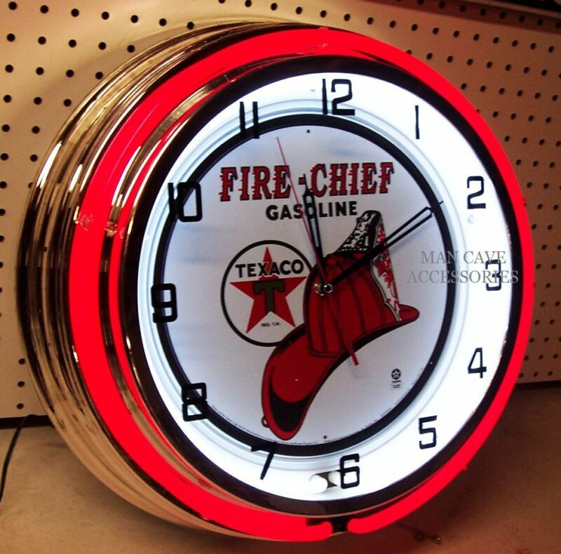 """18"""" TEXACO Fire Chief Gasoline Motor Oil Gas Station Sign Double Neon Clock"""